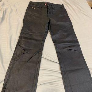 Black Leather Diesel Jeans